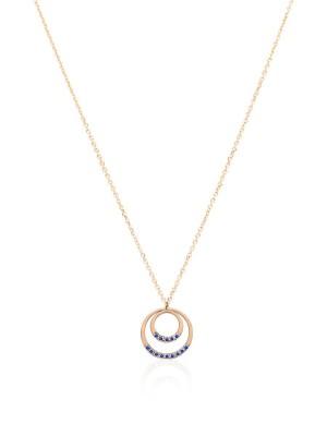 Ekan, colgante circulos en oro rosa de 18 kilates y zafiros azules