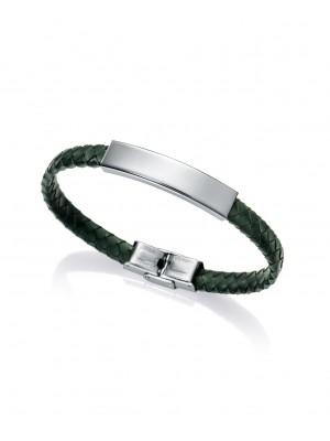 Viceroy pulsera para hombre Magnum en acero y piel verde