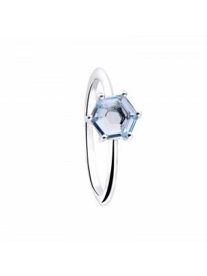 Anillo Hexagun en plata y topacio azul de Duran Exquse