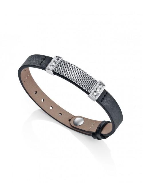 Viceroy pulsera para hombre Antonio Banderas Design en acero y piel plana negra con circonitas