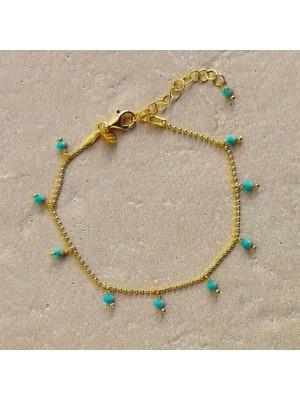 Alisia, pulsera Kos en plata de ley dorada y turquesas