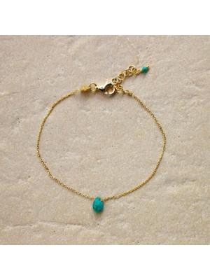 Alisia, pulsera Zante en plata chapada en oro y turquesa