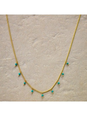 Alisia, collar Kos en plata chapado en oro y turquesas