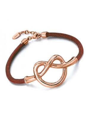 LeCarré pulsera de plata recubierta de oro rosa y cuero