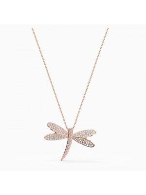 Swarovski collar Eternal Flower, blanco, baño tono oro rosa