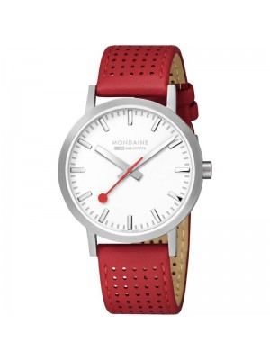 Mondaine Classic Silver Dial Red