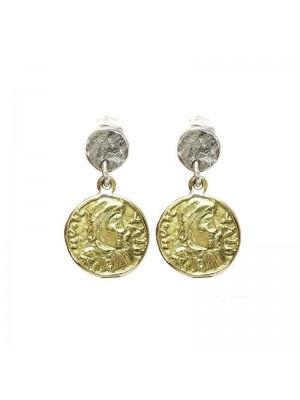Altana pendientes moneda en plata de ley y bronce