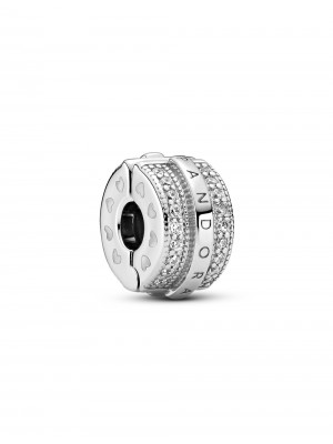 Pandora clip Líneas Brillantes y Logo en plata de Ley