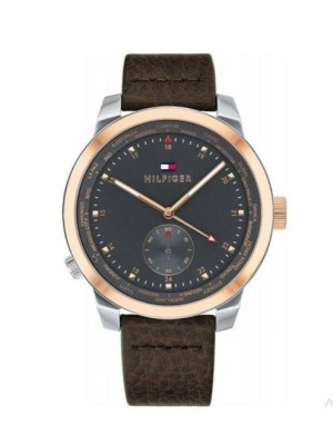 Tommy Hilfiger Denim Pinnacle acero 44 mm correa piel marrón