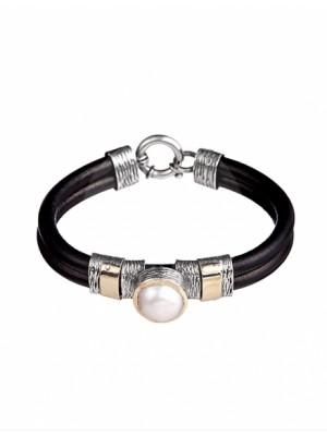 Styliano pulsera de cuero, plata, oro y perla
