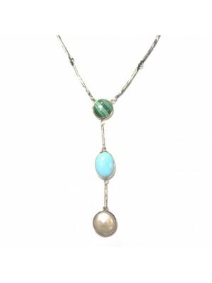 Styliano collar de plata y oro con Perla, Malaquita y Turquesa