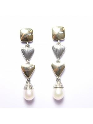 Styliano, pendientes de plata, oro y perlas