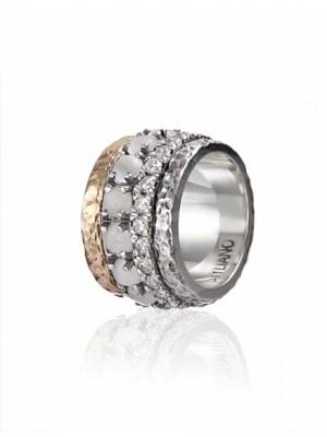 Styliano anillo Rekha en plata y oro