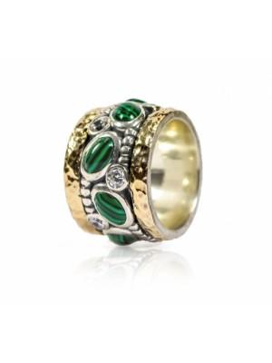 Styliano anillo antiestress en plata oro y malaquitas