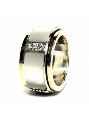 Styliano anillo antiestress en plata oro y madreperla